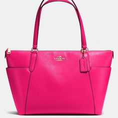 NWT Coach Ava Tote Pink Pebbled Leather! This is a gorgeous bag! Pink pebbled leather with gold hardware. Pink interior. Strap drop is 9 inches. Very good size bag. Measures (from top) 16.5x10.5x5.5. Coach Bags Totes