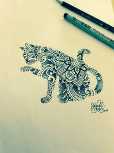 Mehndi, ornamented cat.  Artist: Deborah Deh Soares. Studio Lotus Tattoo, Campinas - SP, Brazil. Facebook.comstudiolotustatuagem.