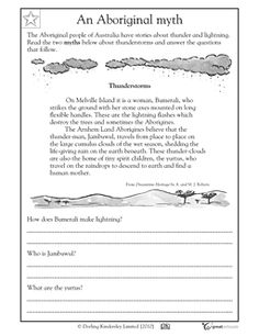 Reading comprehension: myth about thunderstorms - Worksheets & Activities | GreatSchools