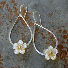 Plumeria Teardrop Sterling Silver Earrings by KiraFerrer on Etsy, $42.00