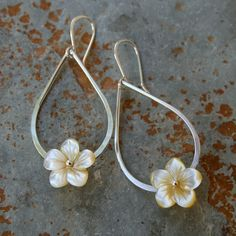 Plumeria Teardrop Sterling Silver Earrings by KiraFerrer on Etsy, $42.00