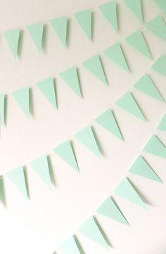 Paper Garland Mint Green Mini Bunting Flags by FunkyFrillsUK