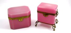 Antique French Pink Opaline Caskets