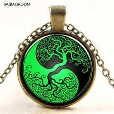 Green and Black Yin and Yang Taiji Time Gem Pendant Necklace Glass Necklace Tree Sale  #Affiliate