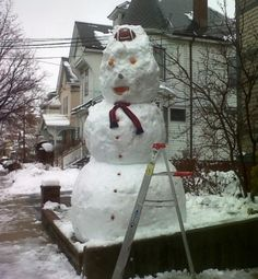 A very large snowman in Somerville. At least 10-feet tall.