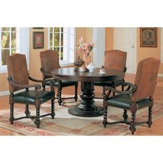 Riverside 54 Round Semi-Formal Dining Table in Dark Wood Finish by Coaster by Coaster Home Furnishings. $698.79. The Riverside collection will give your dining room a refined traditional style that you will truly love In rich dark wood these pieces have sophisticated features including a bold pedestal table base spiral turned legs and faux leather with classic. Save 13% Off!