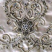 Beaded embroidery on satin