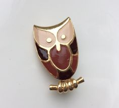 Owl Brooch Witch Jewelry Enamel Vintage Brooch Gold Beige Brown Chocolate Little Pin Bird Brooch Figural Pin Wizard Witchcraft Night Totem by VintageForAges on Etsy