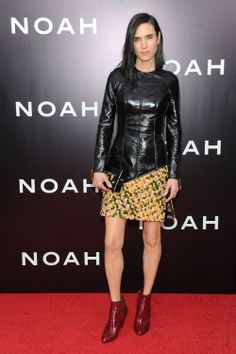 Actress Jennifer Connelly wore Louis Vuitton to the premiere of Noah in New York City, the first custom made dress by Nicolas Ghesquière since his arrival.