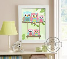 Pink and Green Owl Nursery Decor  Owl Family Print for by MuralMAX