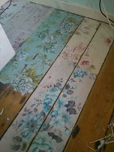 Painted decoupaged floor boards #decoupage