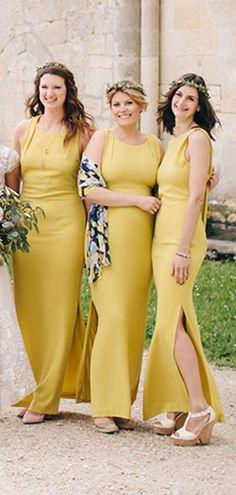 936720a8b2 Lemon Yellow Sheath Side Slit Convertible Back Long Simple Bridesmaid  Dresses