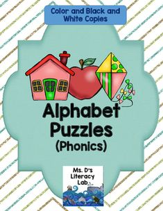 "Alphabet Puzzles {2 part}Do your students enjoy puzzles ? If so, they will really enjoy these with the cute alphabet animals that adorn these pages. There is a complete set of colored puzzles ( 2 to a page) from A-Z and a black and white set as well. In addition, there is an ""I Can"" anchor chart so a teacher/parent can set the activity up for independent use.Perfect for Classroom Teachers teaching decodable, systematic phonics, Orton Gillingham Teachers, Pre-Kindergarten and Kindergarten…"