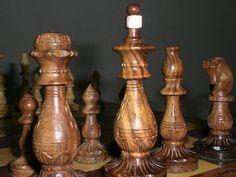 Rare- - Handicraft wood Handmade Carving Chess Set Chessmen Antique. Wooden Gift