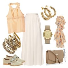 PEACH and CAPPUCCINO, created by gustosamente on Polyvore