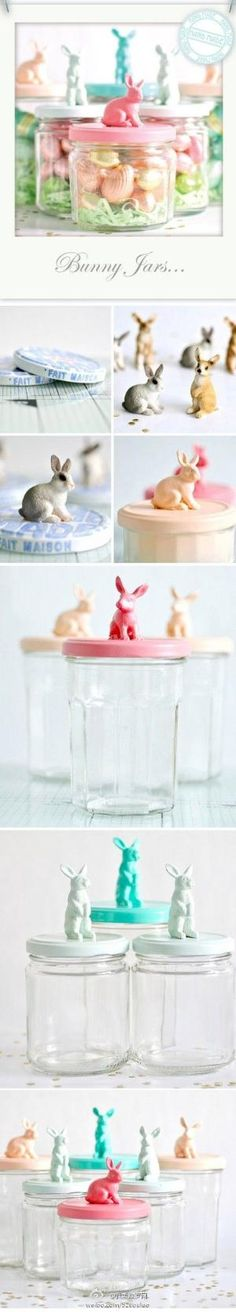 ~T~No instructions, but such a cute idea to make. Just get jars and plastic bunnies and then paint the lids and bunnies. Glue bunny onto lid and fill with Easter treats, cookies, candy, toys etc. Love it. by Arqangel