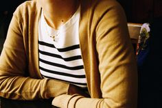 Such a random thing, but I have been dying to get my hands on a mustard cardigan. Looks so cute with gray and stripes. Looks Style, Style Me, Mustard Yellow Cardigan, Mustard Sweater, Rust Cardigan, Mustard Top, Modern Hepburn, Get Dressed, Autumn Winter Fashion