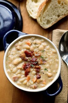 Creamy, White Bean Stew with Smoky, Thick-Cut Bacon, Vegetables and Fragrant Herbs