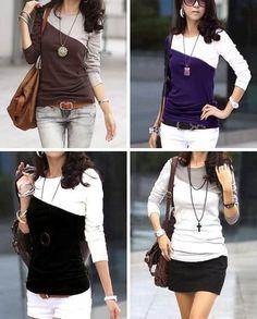 diagonal color block tshirt tutorial / 2 shirts