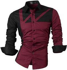 jeansian Men's Casual Slim Long Sleeves Dress Shirts 8312…