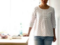 Pleated women blouse, japanese fashion cotton pleated shirt. Chambray gray, tan polka dots and gray polka dots. Sizes US 2, 4, 6, 8.