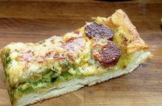 Creole Contessa: Smoky Pesto Sicilian Style Pizza with Andouille and Salami