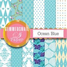 Blue digital paper Ocean Blue backgrounds 12 blue scrapbook papers printable includes blue quatrefoil