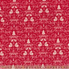 Cotton Fabric Festive Red Traditional Scandi Pattern