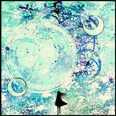 Фото Девушка смотрит на большой шар, арт от Harada Miyuki