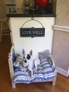 Dog bed handpainted from a resale shop doll bed.