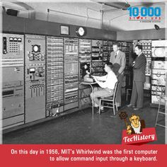 On this day in 1956, MIT's Whirlwind became the first computer to let users enter commands through a keyboard. Previously, all input was accomplished through dials, switches, and/or punch cards! #Techistory