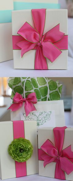 pink bow, white box - love, love, love this gift wrapping idea!