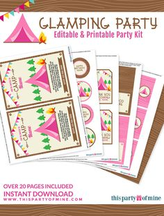 Glamping Invitation & Party Package Printable by thispartyofmine