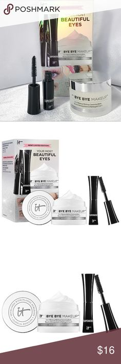 🆕It Cosmetics Your Most Beautiful Eyes Set🆕 New in box It Cosmetics Your Most Beautiful Eyes Set contains travel-sized versions of their best-sellers. Set contains the following: • Superhero Mascara 0.17oz/5mL • Bye Bye Makeup makeup melting balm 0.99oz/28g   Check out my other listings to bundle and save! Sephora Makeup Mascara