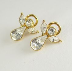 Vintage Rhinestone Angel Earrings Goldtone by NeatstuffAntiques, $25.00