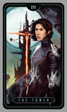 """For a Star Wars tarot card project. (Kylo Ren again, I know, but I can't get over his interesting face.) I thought his destructive character would fit the meaning of """"The Tower"""" very well. Star Wars Saga, Star Wars 7, Star Wars Kylo Ren, Star Wars Fan Art, Kylo Ren Fan Art, Star Wars Images, Love Stars, Tarot Decks, Far Away"""