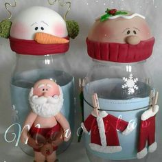 Christmas Decorations, Christmas Ornaments, Xmas, Polymer Clay Christmas, Fondant Toppers, Polymer Clay Projects, Cold Porcelain, Bottle Crafts, All Things Christmas