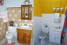 Decor Hacks : Holy cow, that looks great! Think you can't paint bathroom tile? Think again. Using Glidden's Gripper Primer, the folks at Charles & Hudson easily upgraded dated dandelion tiles with a modern, high-gloss finish. Painting Over Tiles, Painting Bathroom Tiles, Painting Tips, Bathroom Renos, Washroom, Bathroom Ideas, Home Board, Elegant Homes, Home Hacks