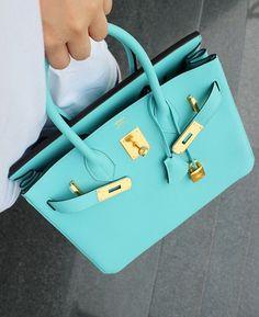 Hermes - Birkin bag in blue atoll. Hermes Bags, Hermes Handbags, Fashion Handbags, Purses And Handbags, Fashion Bags, Ladies Handbags, Hermes Purse, Fashion Accessories, Fashion Purses