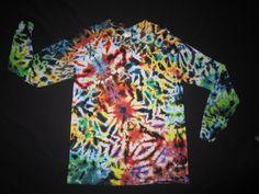 Psychedelic Scrunch Tie Dye Long Sleeve T-Shirt., Fits Adult Unisex Medium