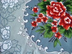 Vintage Table Cloth Blue Floral Mid Century by SydneyVintageFinds, $36.00