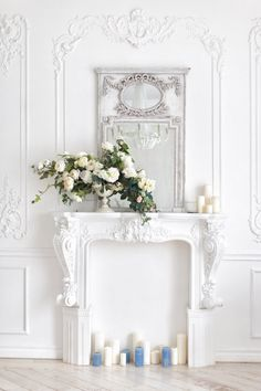 Faux Fireplace Mantels, Fireplace Wall, Fireplace Design, Fireplaces, Chateau Wedding Decor, Faux Foyer, Wall Design, House Design, Classic Interior