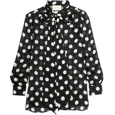 Gucci Pussy-bow polka-dot silk-chiffon blouse (66,765 INR) ❤ liked on Polyvore featuring tops, blouses, gucci footwear, gucci, tie shoes, high heel shoes and patent shoes