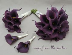 Real Touch Calla Lily Bridal Bouquet Groom's Boutonniere Eggplant Purple Bridesmaid Bouquet Best Man Boutonniere Real Touch Bouquets