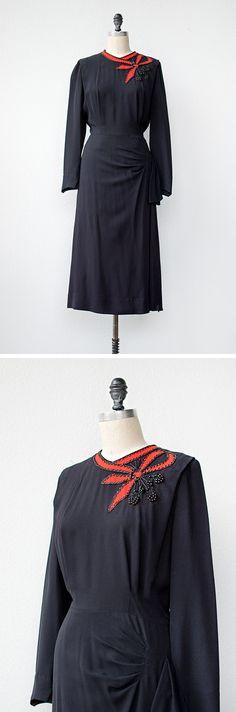 vintage 1940s dress | Scarlet Ribbons Dress