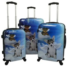 Chariot Doggies 3-Piece Hardside Lightweight Upright Spinner Luggage Set ** Click image for more details.