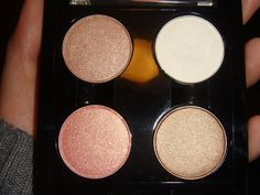 MAC Eyeshadows.  MAC eyeshadows are worth their weight in gold. Perfect pigments that really do last. This is a perfect palette combination -  All That Glitters, White Frost, Woodwinked & Gleam.