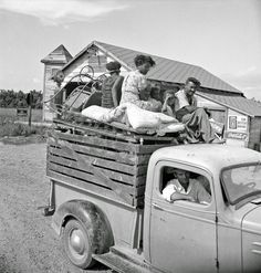 """""""Mississippi Delta, on Mississippi Highway No. 1 between Greenville and Clarksdale. Negro laborer's family being moved from Arkansas to Mississippi by white tenant. June 1938"""""""