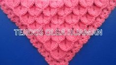 chal triangular tejido a crochet en punto cocodrilo o escamas - YouTube