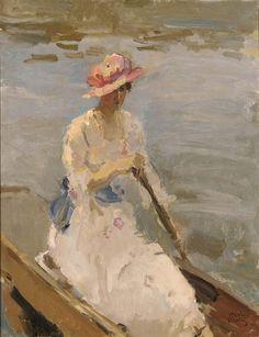 Isaac Israëls - Dame in een boot op de rivier de Theems in Londen